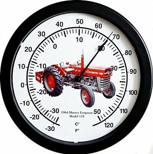 14 Massive Farm 1964 Massey Ferguson Model 135 Vintage Tractor Wall Thermometer