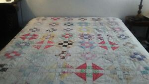 Antique Vintage Handmade Patchwork Quilt 1930s Beautiful Condition 81 X 70