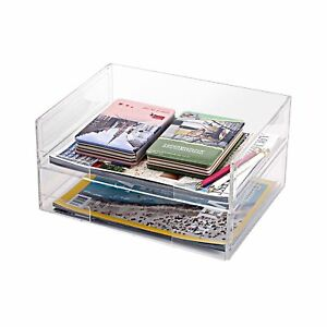 Deluxe Stacking Clear Acrylic Document Paper Trays Desktop Organizer Racks