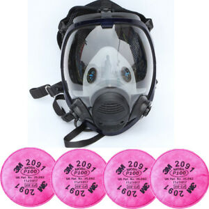 Similar 3m 6800 Full Face Gas Mask Facepiece Respirator W 4pcs 2091 P100 Filters