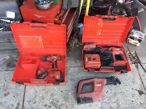 Hilti Te 2 a Hammer Drill 24 Volt Cordless 2 Batteries Charger Cary Case Lot
