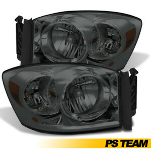 2006 2008 Dodge Ram 1500 2500 3500 Smoke Front Bumper Headlights Headlamps Pair