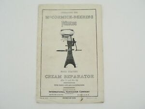 Vtg Mccormick Deering Primrose Cream Separator Owners Manual W Parts List 1927