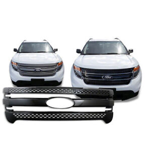 Black 2011 2015 Ford Explorer Snap On Grille Overlay Full Front Grill Covers New