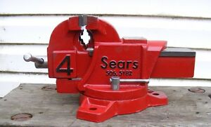Vintage Sears 4 Heavy Duty Bench Vise 28 Lbs With 4 Jaws Seller Refurbished