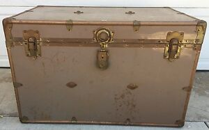 Vintage Standard Tuffer Luggage Large Tan Storage Chest Steamer Trunk