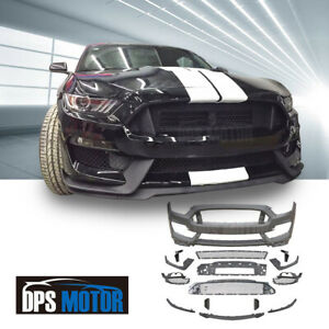 Gt350 Style Pp Front Bumper Body Kit Air Dam Lip Grill For 2015 17 Ford Mustang