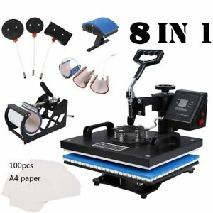 8 In 1 Diy Heat Press T shirt Mug Hat Heat Sublimation Machine W Transfer Paper