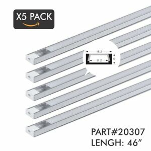 5 Pack Of Tecled 4ft 46 Led Aluminum Profile U shape Channel System With Frost