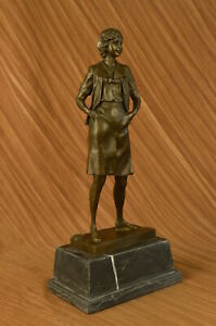 Art Deco Soccer Mom Bronze Sculpture Trophy Game Marble Base Statue Great Deal