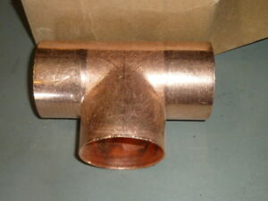 New Elkhart Wrot Solder joint Copper Tee Pipe Fitting 2 1 2 Nominal 2 5 8 Od