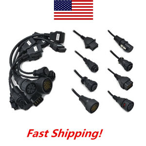8pcs Obd2 Obdii Full Set Diagnostic Tool Adapter Truck Cables Pack For Autocom
