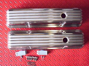 Aluminum Finned Polished Tall Valve Covers Chevrolet Sbc 1958 86 283 305 327 350