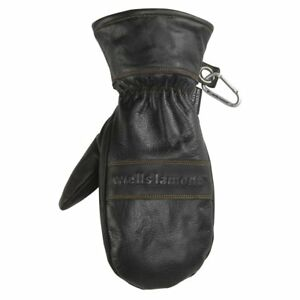 Black Leather Winter Mittens Water resistant Hydrahyde 100 Gram Thinsulate