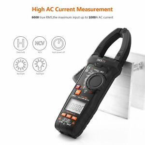 Digital Clamp Meter Wire On off Test Multimeter 6000 Count Low Impedance Measure