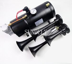 Quad 4 Air Train Horn Kit Semi Truck Boat Black Horns 150 Psi Compressor 12v