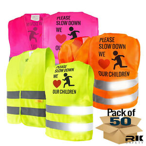 Kids Safety Vest Security High Reflective Vest orange lime pink Kids777 50
