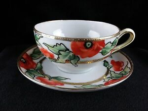 Vintage Hand Painted Japan Poppies Tea Cup And Saucer Euc Free Shipping