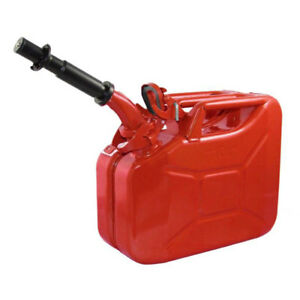 Wavian 3013 2 6 Gallon 9 8 Liter Steel Gasoline Fuel Jerry Can With Spout Red