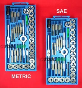Tap And Die Set 80 Piece Sae Metric W Cases Screw Extractor Remover New