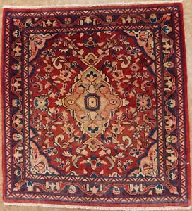 Persian Sarouk Hand Knotted Wool Red Navy Blue Floral Oriental Area Rug 2 X 2