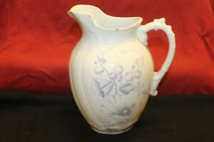 Vintage Ironstone China Pitcher Blue Floral Design Trimmed In Gold T E P P Co