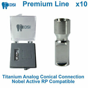 10 X Dental Lab Implant Replica Analog Conical Connection Nobel Active Rp