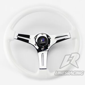 14 White Wood Steering Wheel 6 Bolts 1 75 Dish Mirrored Chrome 3 Spoke Horn