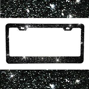 2018 Top Selling Starry Nights Black Glitter Bling Sparkly License Plate Frame