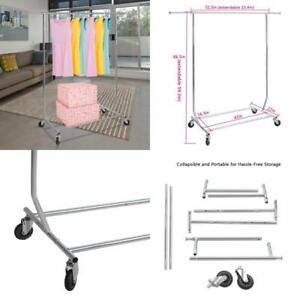 Clothing Garment Rack Chrome Adjustable Height Length Collapsible Rolling Rack