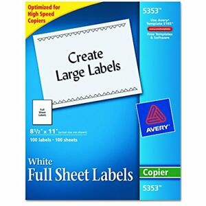 Electronics Features Avery Full sheet Labels For Copiers 8 1 2 11 Box Of 100