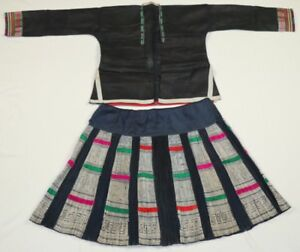 Chinese Miao People S Old Hand Embroidery Jacket Pleated Batik Skirt One Set