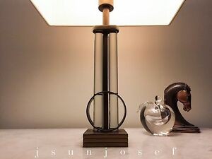 Mid Century Streamline Art Deco Brass Glass Rod Lamp By Gilbert Rohde Mslc