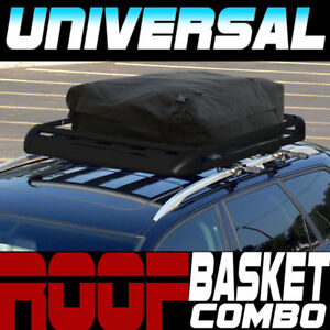 Blk Aluminum 50 Roof Rack Rail Cargo Basket Utility Gear Kit rainproof Bag S03