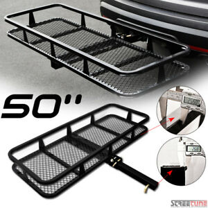 50 Blk Mesh Steel Fold Up Bumper Mount Hitch Cargo Basket For 2 X2 Receiver S1