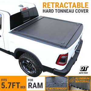 Fit 2009 2019 Ram 1500 5 7ft Bed Tonneau Cover Aluminum Retractable roll up Hard