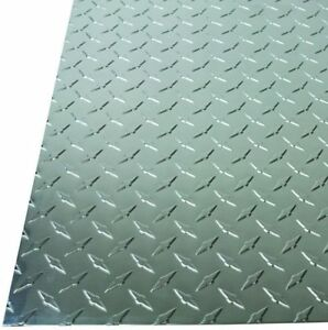 3x Diamond Tread Plate Aluminum Sheet In Silver 36 In X 36 In X 0 025 In Metal