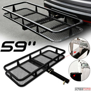 59 Blk Mesh Steel Fold Up Bumper Mount Hitch Cargo Basket For 2 x2 Receiver S3