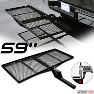 59 Black Mesh Steel Fold Up Bumper Mount Hitch Cargo Tray For 2 x2 Receiver Sf