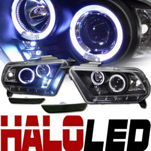 Blk Halo Led Projector Head Lights front Bumper Signal Smoke 10 14 Ford Mustang