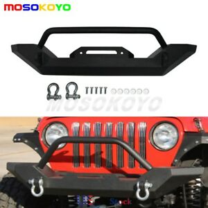 Black Front Bumper Winch D Ring Textured Plate For Jeep Tj Yj Wrangler 1987 06