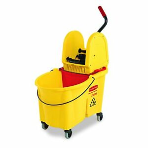 Rubbermaid Commercial Wavebrake Mop Bucket And Down Press Wringer Combo Yellow