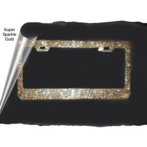 Gold Rush Large Real Glitter Bling Sparkly Metal License Plate Frame