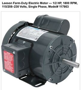 Electric Motor Single Phase 1 2 Hp 1800 Rpm 115 208 230 Volts Single Phase