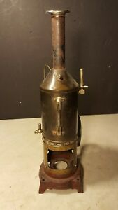 Antique Doll Steam Engine Toy Upright Cast Iron Base