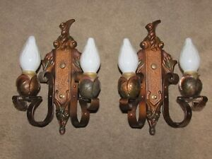 2 Polychromed Cast Iron Lincoln 2l Floral Fine Aaa Antique Sconces Nos