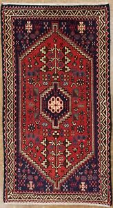 2 X 3 Persian Abadeh Tribal Hand Knotted Wool Traditional Red Blue Oriental Rug