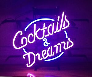Cocktails And Dreams Neon Sign Display Beer Bar Pub Real Neon Light Custom Z056