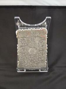 Antique Victorian Silver Card Case Initialled Monogram Birmingham Es C 1875