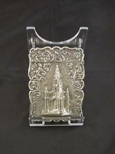 Antique Victorian Silver Castle Top Card Case Birmingham Frederick Matthews 1845